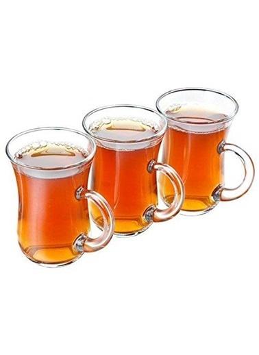 Paşabahçe Çay Bardak 12 Li Keyif Kulplu Çay Bardağı Renkli